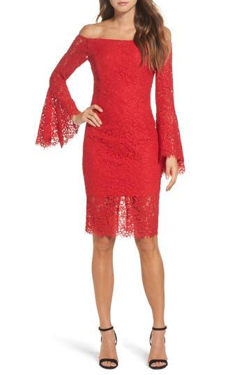 Bardot Solange Corded Lace Sheath Dress, Red