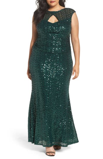Plus Size Marina Cutout Sequin Lace Gown, Green