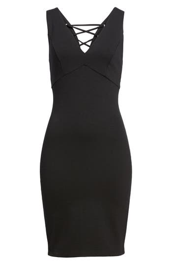 Women's Soprano Cross Back Body-Con Dress, Size X-Small - Black