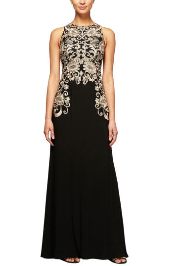 Alex Evenings Embroidered Sleeveless Gown, Black