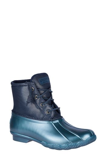 Sperry Saltwater Pearlized Duck Rain Boot- Blue