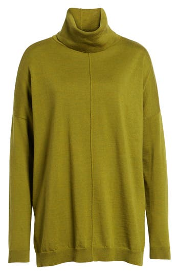 Eileen Fisher Merino Wool Boxy Turtleneck Sweater, Green