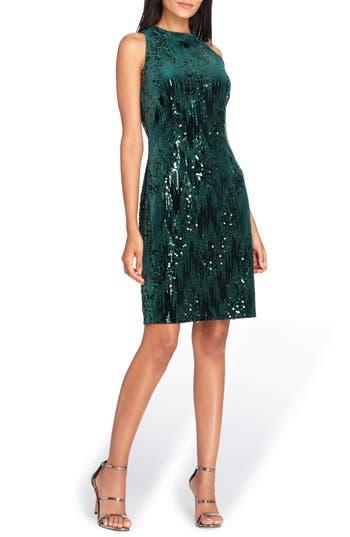 Tahari Sequin Velvet Sheath Dress, Green