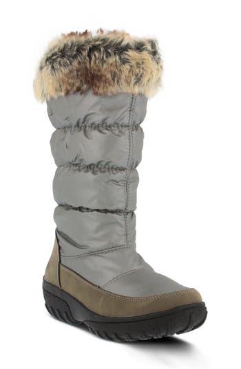 Spring Step Vanish Faux Fur Trim Waterproof Boot - Metallic