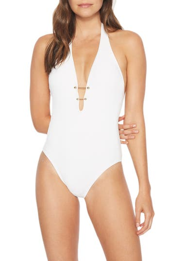 Robin Piccone Luca Halter One-Piece Swimsuit, White
