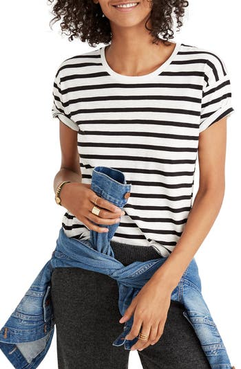 Madewell Whisper Cotton Stripe Crewneck Tee, White