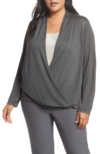 Plus Size Eileen Fisher Faux Wrap Tencel & Merino Wool Sweater, Grey