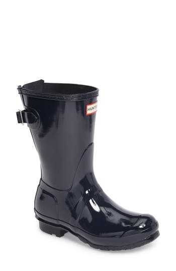 Hunter Original Short Adjustable Back Gloss Rain Boot, Blue