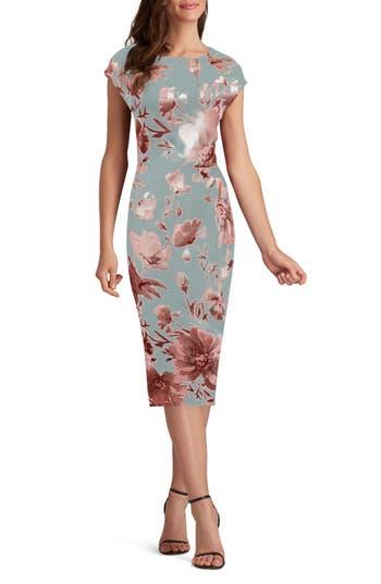 Eci Floral Print Sheath Dress, Grey