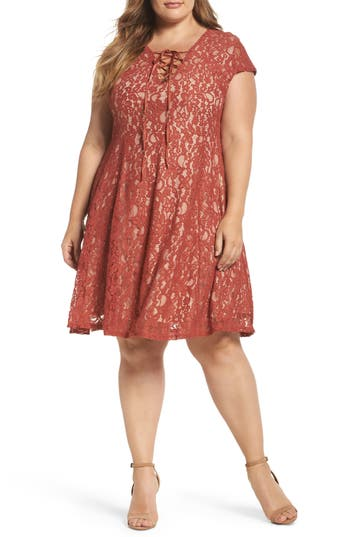 Plus Size Women's Soprano Tie Front Lace Dress, Size 1X - Orange