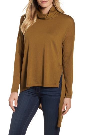 Eileen Fisher Asymmetrical Merino Wool Sweater, Metallic