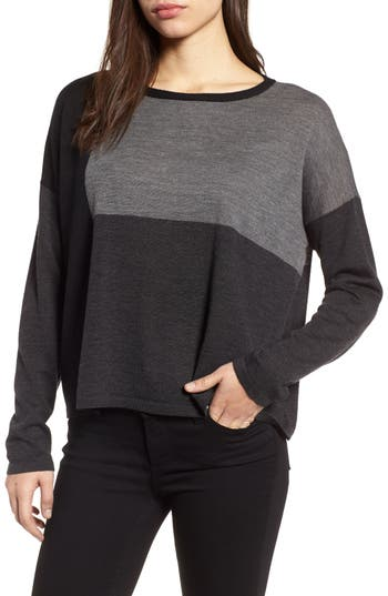 Eileen Fisher Colorblock Boxy Merino Wool Sweater, Grey
