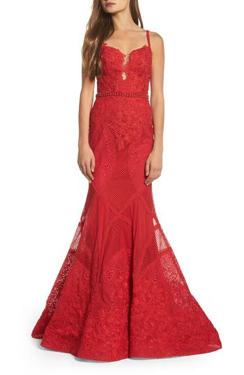 MAC Duggal Embellished Lace Mermaid Gown, Red