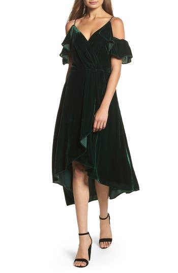 Chelsea28 Cold Shoulder Velvet Midi Dress, Green