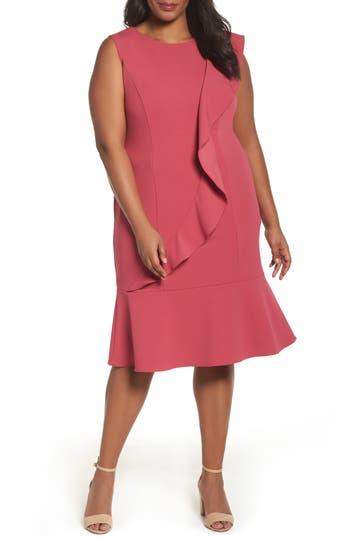 Plus Size Adrianna Papell Knit Crepe Drop Waist Dress, Pink
