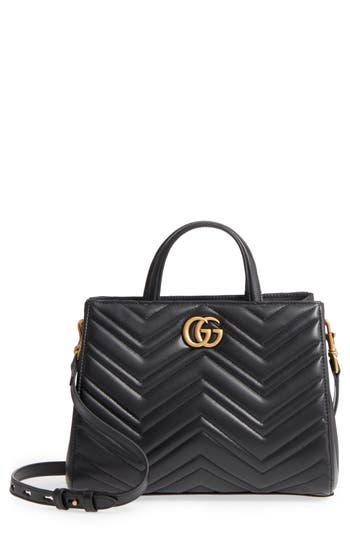 Gucci Gg Small Marmont 2.0 Matelasse Leather Top Handle Satchel - Black at NORDSTROM.com