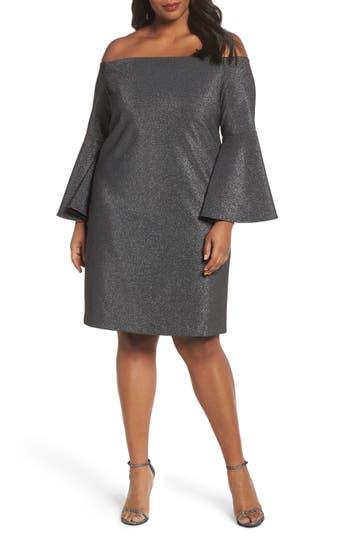 Plus Size Vince Camuto Off The Shoulder Metallic Sheath Dress, Black