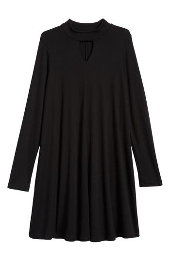Girl's Soprano Mock Neck Knit Dress, Size S (8-10) - Black