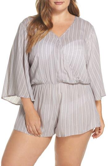 Plus Size Elan Cover-Up Romper, Grey