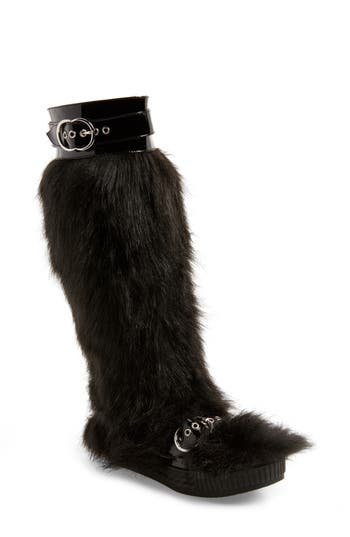 Jeffrey Campbell Oh Yeah Faux Fur Knee High Boot- Black