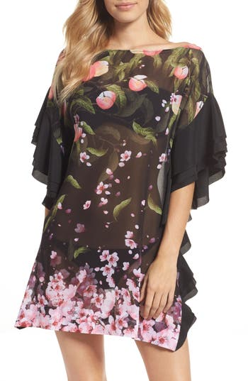 Ted Baker London Peach Blossom Cover-Up Tunic, Black