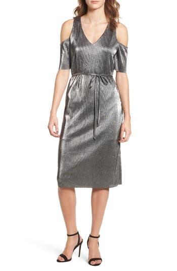 Everly Metallic Cold Shoulder Dress, Black
