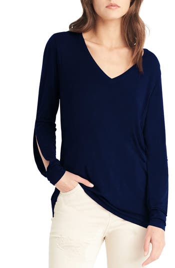 Michael Stars Slit Sleeve Top, Size One Size - Blue