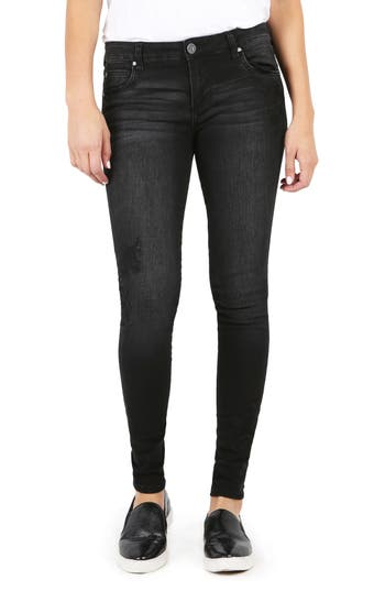 Kut From The Kloth Mia Embroidered Skinny Jeans, Grey