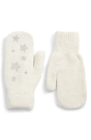 David & Young Sequin Stars Mitten, Size One Size - White