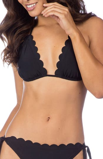 La Blanca Petal Pusher Solid Ruffle Triangle Bikini Top, Black