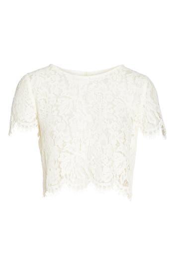 Jenny Yoo Kenzie Lace Crop Top, Ivory