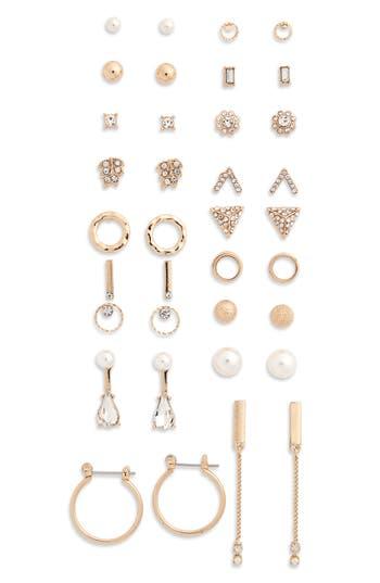 Women's Bp. 18-Pack Imitation Pearl & Crystal Earrings