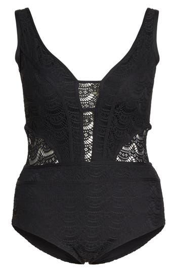 Plus Size Becca Etc. Show & Tell One-Piece Swimsuit, Black