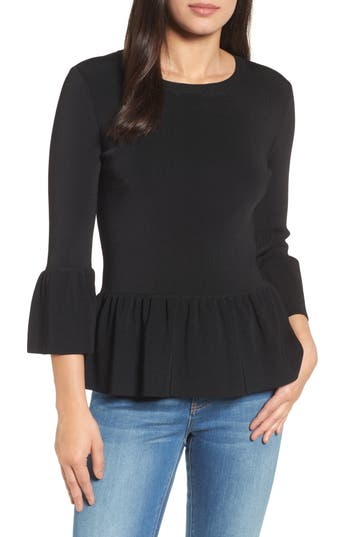 Women's Halogen Peplum Ruffle Sweater, Size X-Small - Black