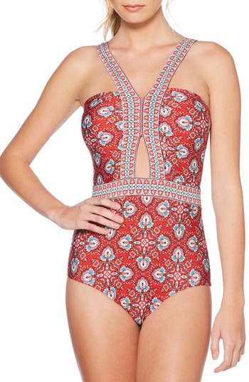 Laundry By Shelli Segal Butterfly Twin Cutout One-Piece Swimsuit, Red