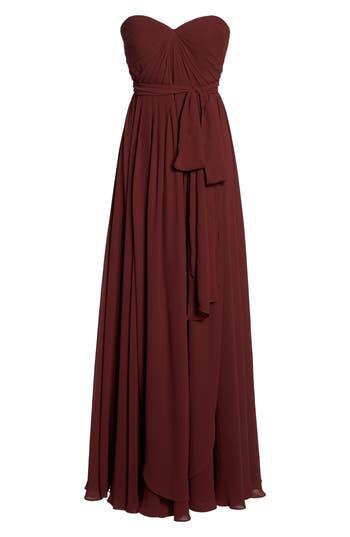 Jenny Yoo Mira Convertible Strapless Chiffon Gown, Red