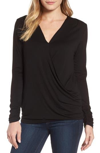 Women's Bobeau Faux Wrap Knit Top, Size Small - Black