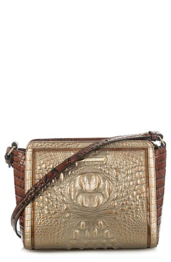 Brahmin Carrie Croc-Embossed Leather Crossbody Bag - Metallic
