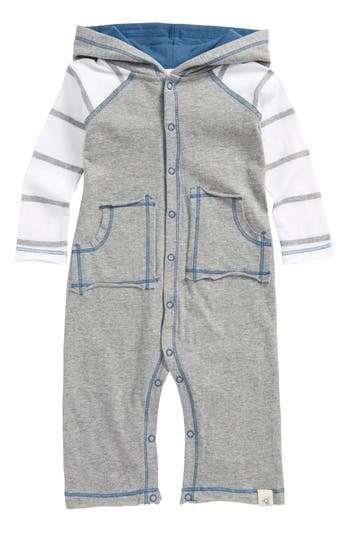 Infant Boys BurtS Bees Baby Organic Cotton Hooded Romper