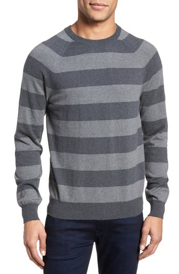 French Connection Stripe Stretch Cotton Sweater, Grey