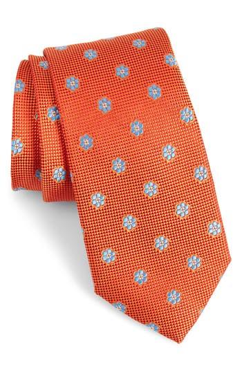 Men's Calibrate Cloisters Neat Silk Tie, Size Regular - Orange
