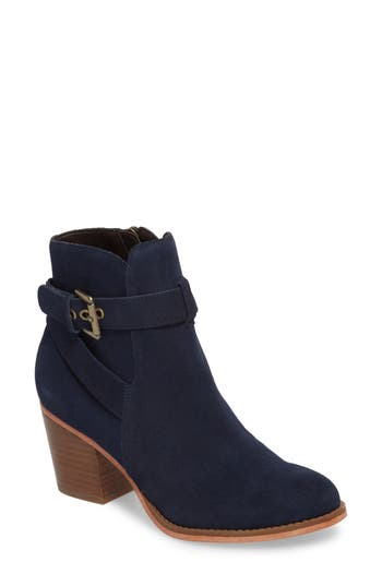 Sole Society Paislee Buckle Strap Bootie- Blue