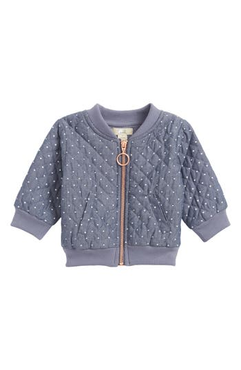 Infant Girls Peek Heart Print Quilted Jacket