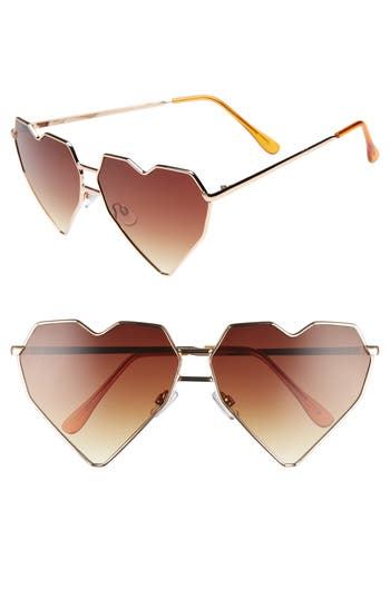 Women's Bp. 64Mm Heart Shaped Sunglasses - Gold