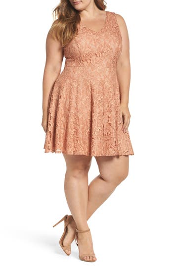 Plus Size Women's Soprano Lace Skater Dress, Size 3X - Pink