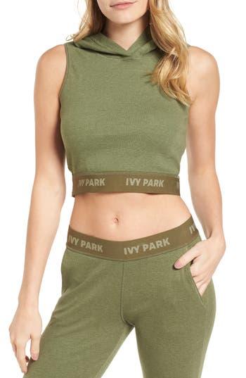 Ivy Park Cross Back Hooded Crop Top, Green