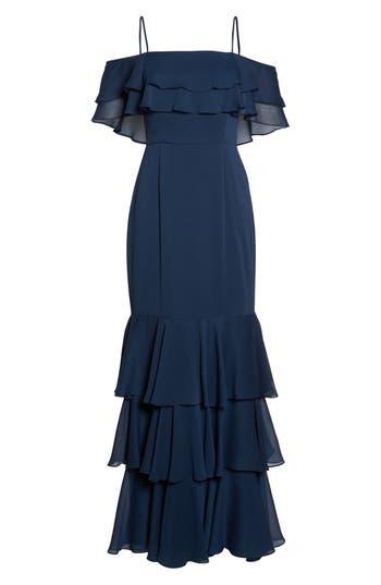 Wayf Lauren Off The Shoulder Tiered Gown, Blue
