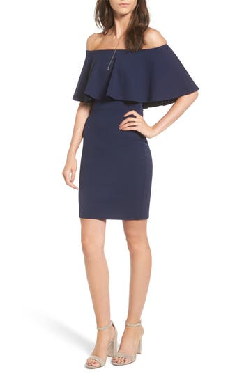 Women's Soprano Ruffle Off The Shoulder Body-Con Dress, Size Small - Blue