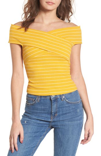 Women's Crisscross Off The Shoulder Top, Size X-Small - Yellow