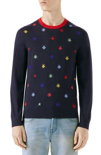 Gucci Bee Embroidered Wool Crewneck Sweater, Blue